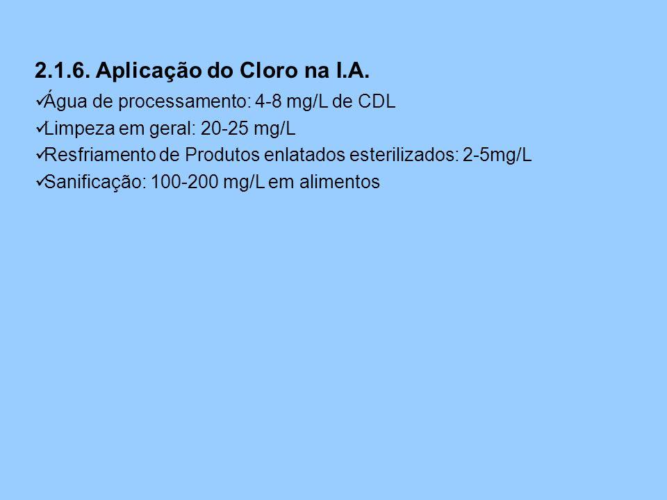 2.1.6. Aplicação do Cloro na I.A.  Água de processamento: 4-8 mg/L de CDL  Limpeza em geral: 20-25 mg/L  Resfriamento de Produtos enlatados esteril