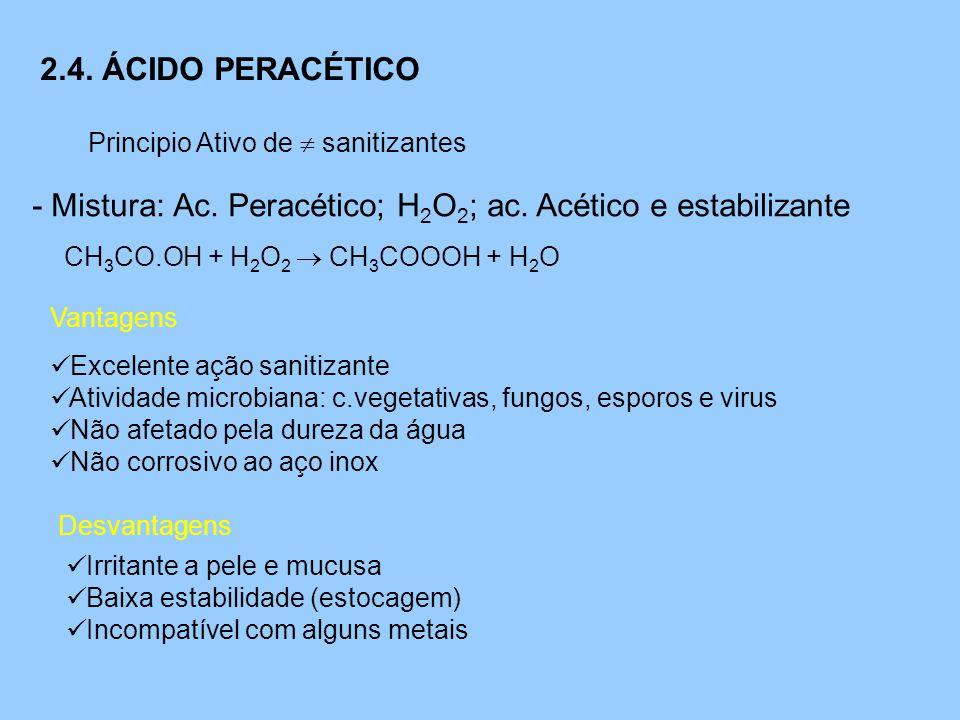 2.4. ÁCIDO PERACÉTICO Principio Ativo de  sanitizantes - Mistura: Ac. Peracético; H 2 O 2 ; ac. Acético e estabilizante CH 3 CO.OH + H 2 O 2  CH 3 C