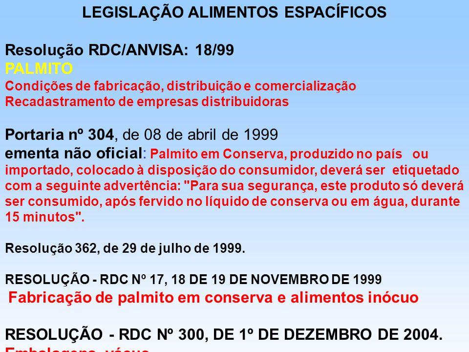 LEGISLAÇÃO ALIMENTOS ESPACÍFICOS Resolução RDC/ANVISA: 18/99 PALMITO Condições de fabricação, distribuição e comercialização Recadastramento de empres