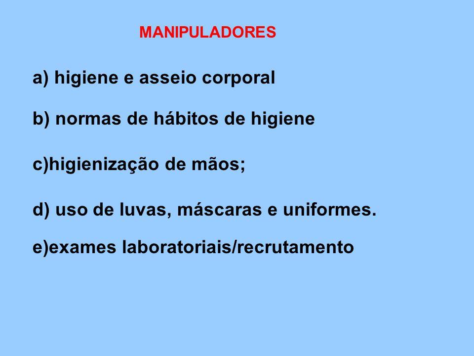 MANIPULADORES a) higiene e asseio corporal b) normas de hábitos de higiene c)higienização de mãos; d) uso de luvas, máscaras e uniformes. e)exames lab