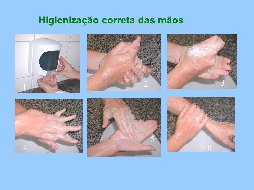 Higienização correta das mãos 2 1 3 4 5 6