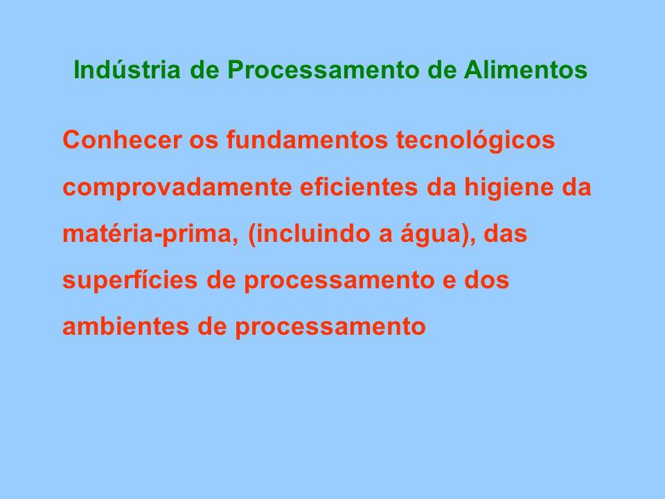 Indústria de Processamento de Alimentos Conhecer os fundamentos tecnológicos comprovadamente eficientes da higiene da matéria-prima, (incluindo a água