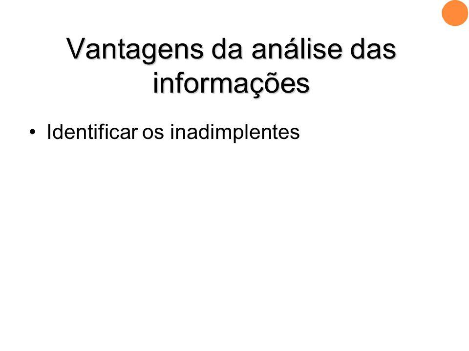 •Identificar os inadimplentes Vantagens da análise das informações