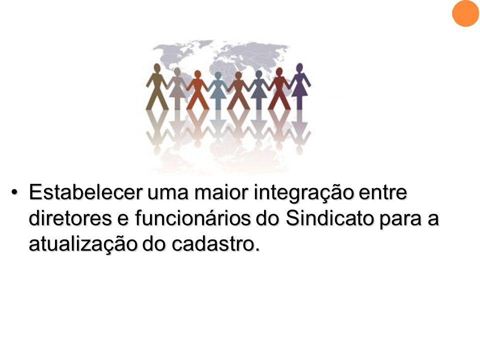 •Estabelecer uma maior integração entre diretores e funcionários do Sindicato para a atualização do cadastro.