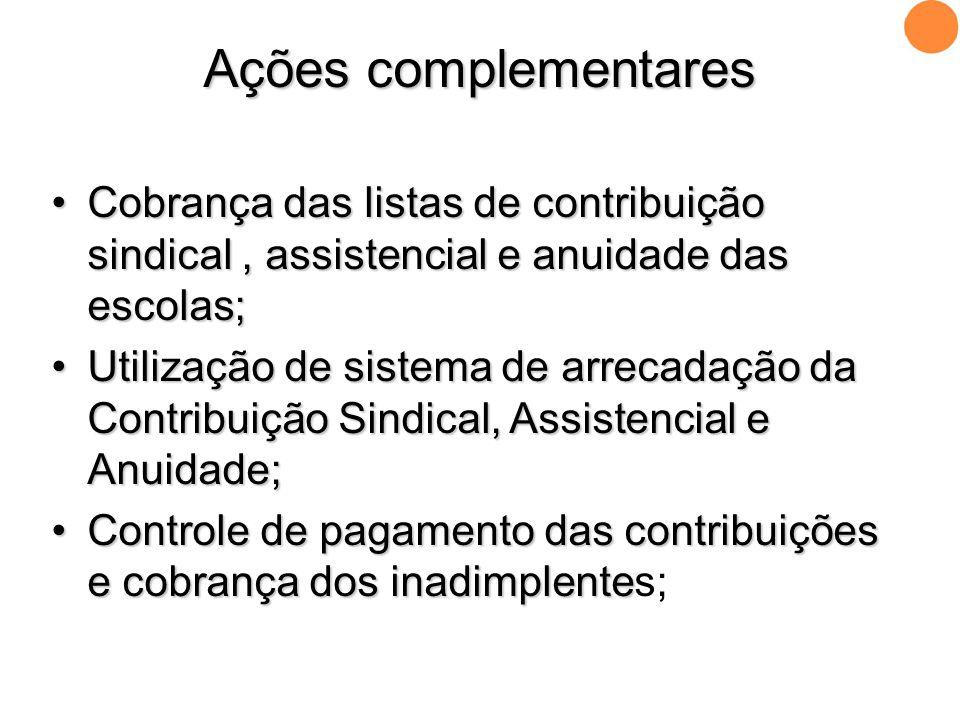 •Cobrança das listas de contribuição sindical, assistencial e anuidade das escolas; •Utilização de sistema de arrecadação da Contribuição Sindical, As
