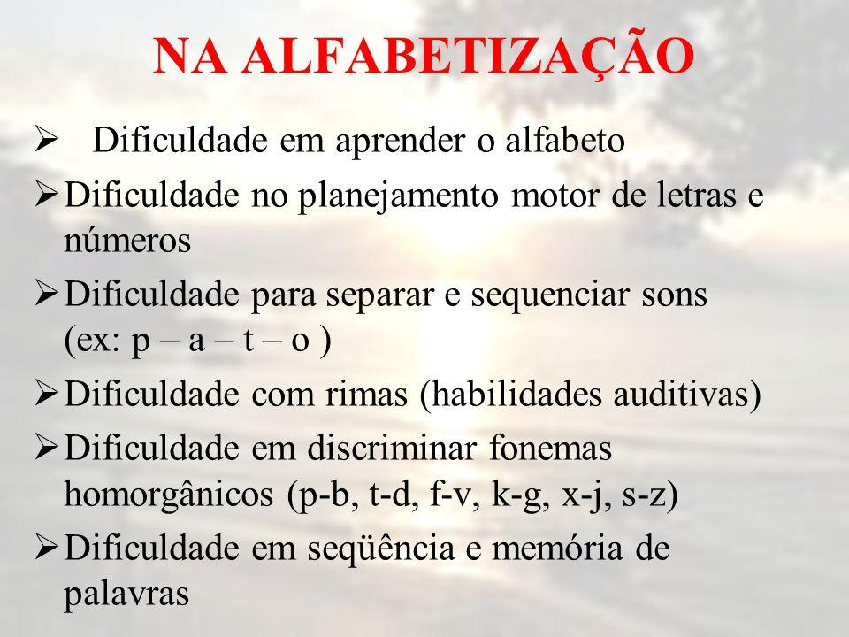 NA ALFABETIZAÇÃO  Dificuldade em aprender o alfabeto  Dificuldade no planejamento motor de letras e números  Dificuldade para separar e sequenciar