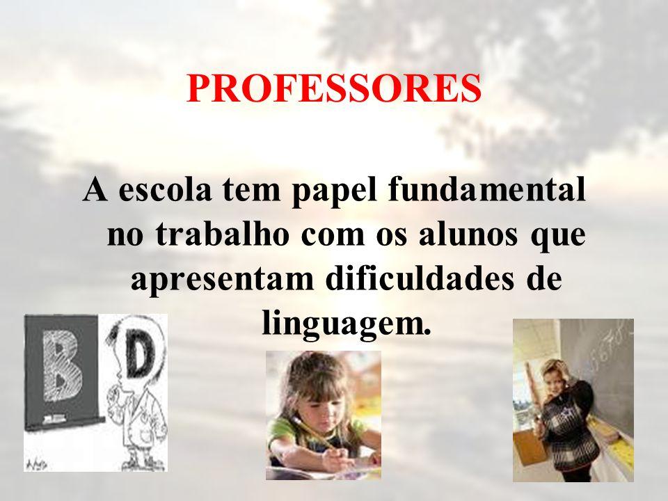 PROFESSORES A escola tem papel fundamental no trabalho com os alunos que apresentam dificuldades de linguagem.