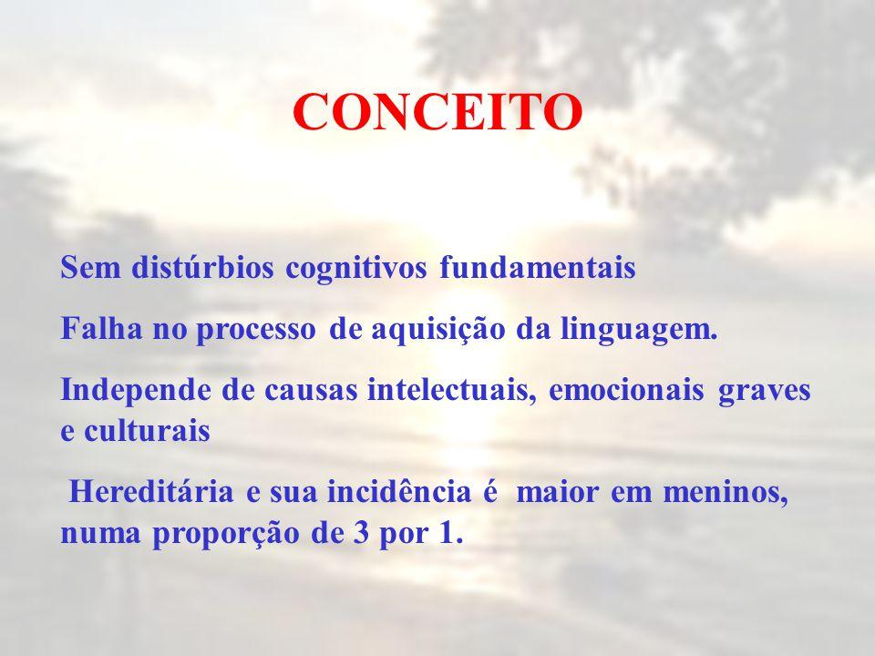 Sem distúrbios cognitivos fundamentais Falha no processo de aquisição da linguagem. Independe de causas intelectuais, emocionais graves e culturais He