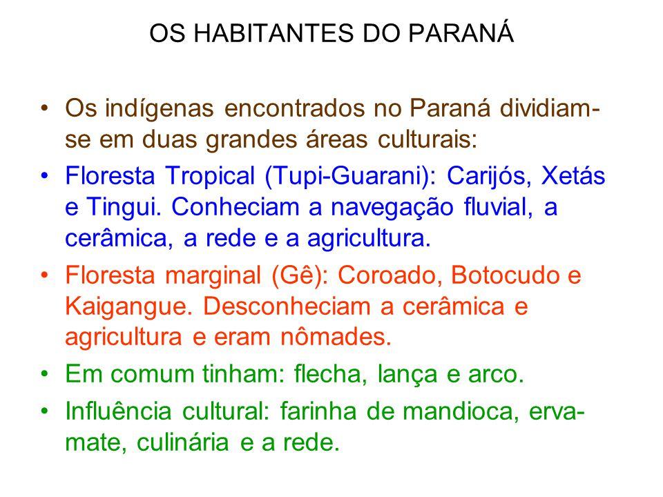 OS HABITANTES DO PARANÁ •Os indígenas encontrados no Paraná dividiam- se em duas grandes áreas culturais: •Floresta Tropical (Tupi-Guarani): Carijós,
