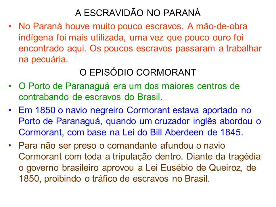 A ESCRAVIDÃO NO PARANÁ •No Paraná houve muito pouco escravos. A mão-de-obra indígena foi mais utilizada, uma vez que pouco ouro foi encontrado aqui. O