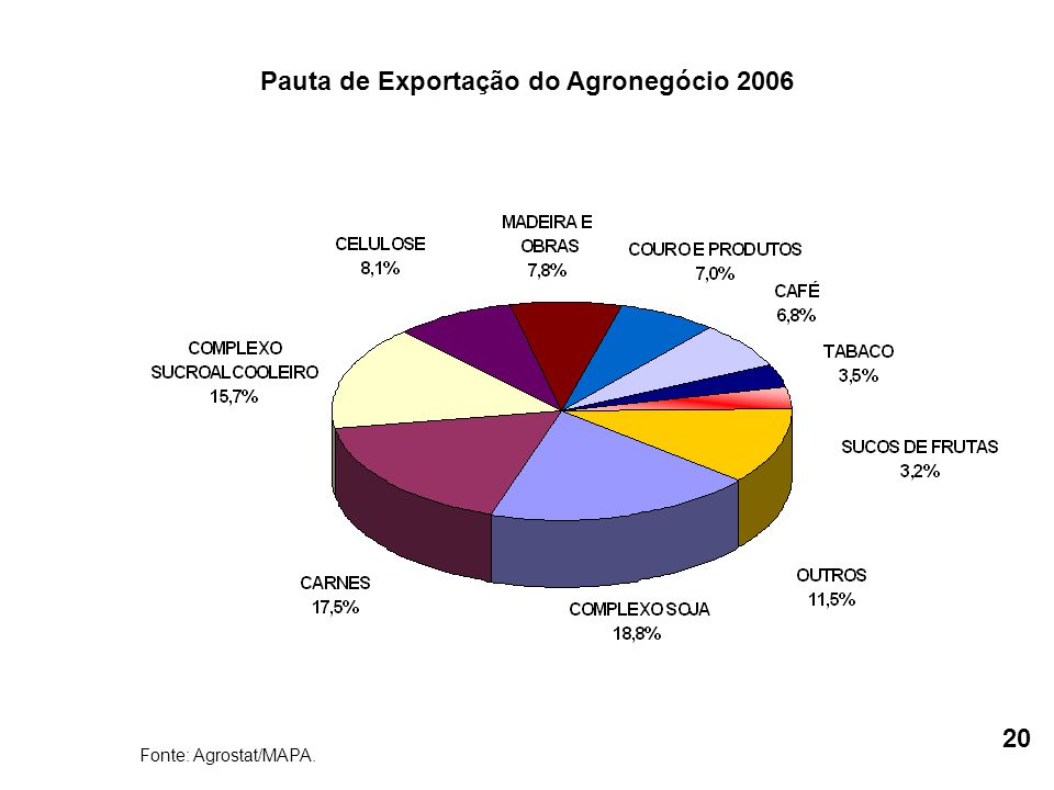 Fonte: Agrostat/MAPA. Pauta de Exportação do Agronegócio 2006 20