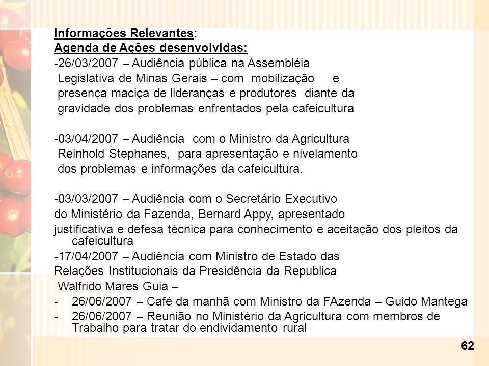 62 Informações Relevantes: Agenda de Ações desenvolvidas: -26/03/2007 – Audiência pública na Assembléia Legislativa de Minas Gerais – com mobilização