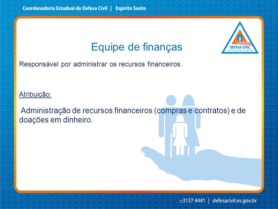 Equipe de finanças Responsável por administrar os recursos financeiros. Atribuição: Administração de recursos financeiros (compras e contratos) e de d