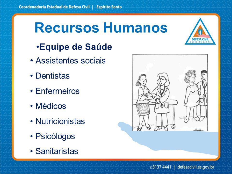 Recursos Humanos •Equipe de Saúde • Assistentes sociais • Dentistas • Enfermeiros • Médicos • Nutricionistas • Psicólogos • Sanitaristas