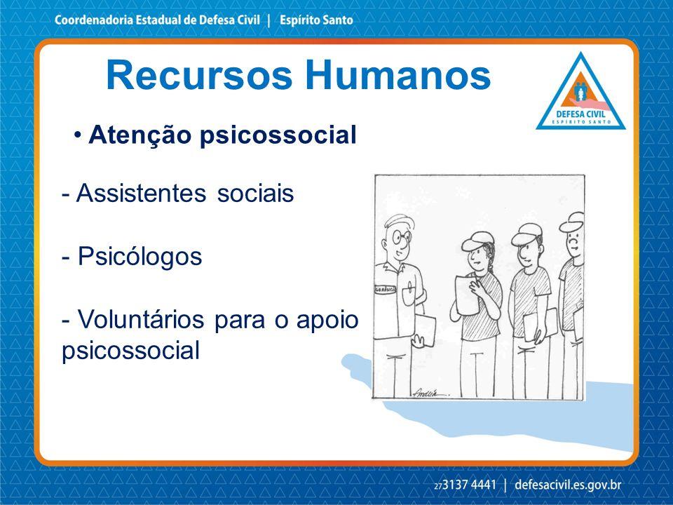 Recursos Humanos • Atenção psicossocial - Assistentes sociais - Psicólogos - Voluntários para o apoio psicossocial