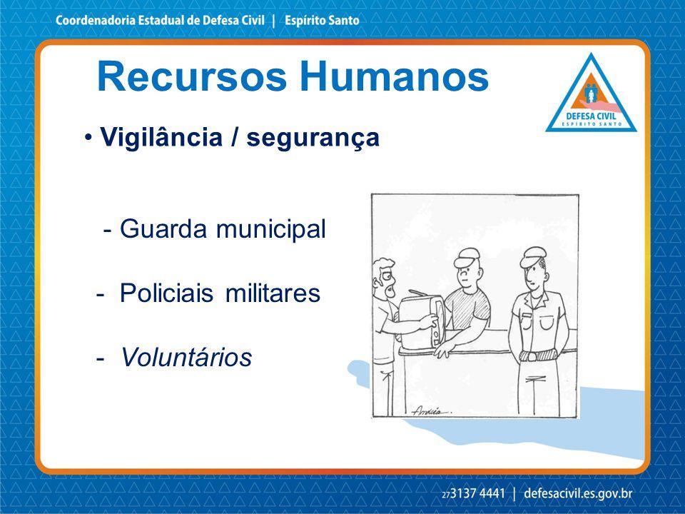 Recursos Humanos • Vigilância / segurança - Guarda municipal - Policiais militares - Voluntários