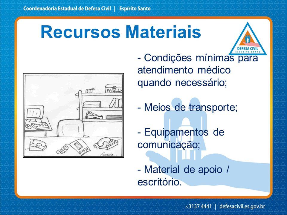 Recursos Materiais - Condições mínimas para atendimento médico quando necessário; - Meios de transporte; - Equipamentos de comunicação; - Material de