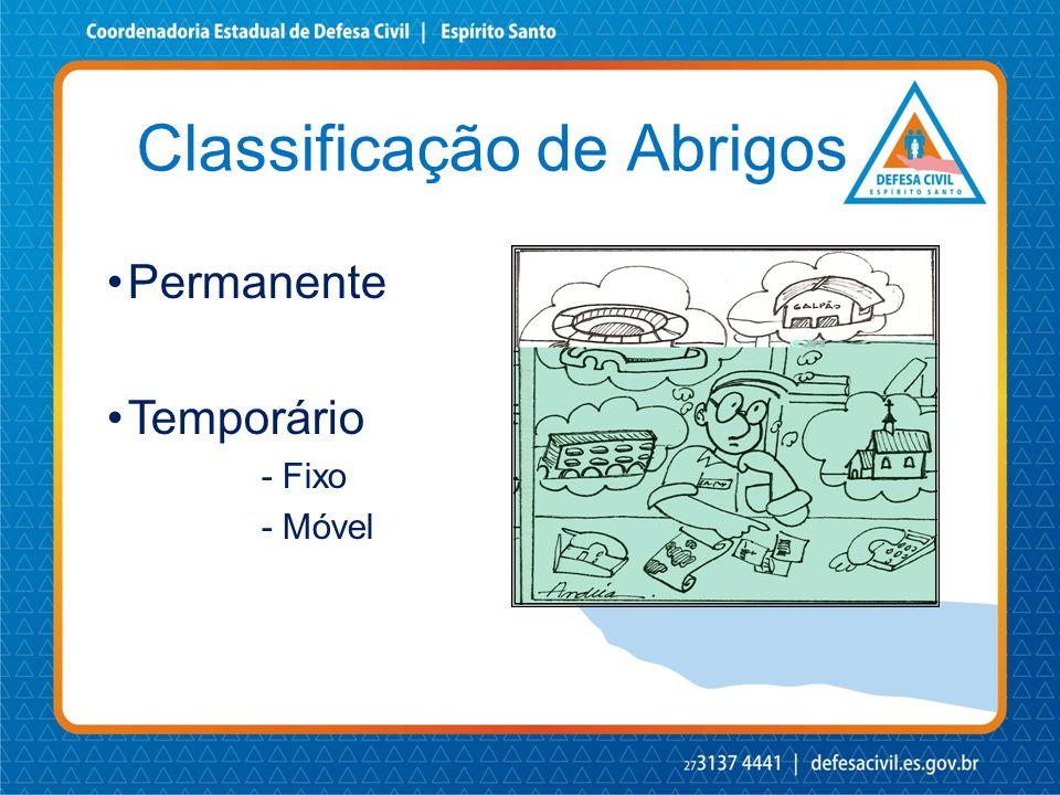 Classificação de Abrigos •Permanente •Temporário - Fixo - Móvel