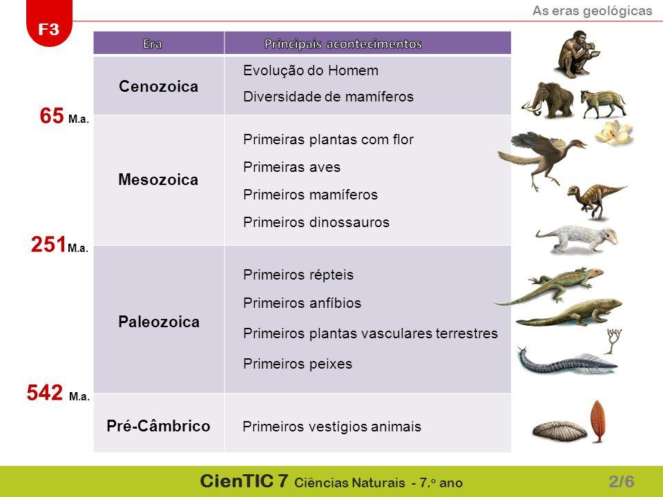 As eras geológicas F3 CienTIC 7 Ciências Naturais - 7. o ano Mesozoica Cenozoica Mesozoica Paleozoica Pré-Câmbrico 65 M.a. 251 M.a. 542 M.a. Primeiros