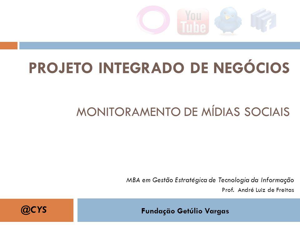 PROJETO INTEGRADO DE NEGÓCIOS MONITORAMENTO DE MÍDIAS SOCIAIS MBA em Gestão Estratégica de Tecnologia da Informação Prof. André Luiz de Freitas Fundaç