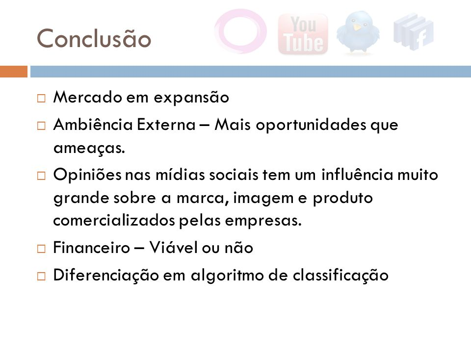Conclusão  Mercado em expansão  Ambiência Externa – Mais oportunidades que ameaças.  Opiniões nas mídias sociais tem um influência muito grande sob