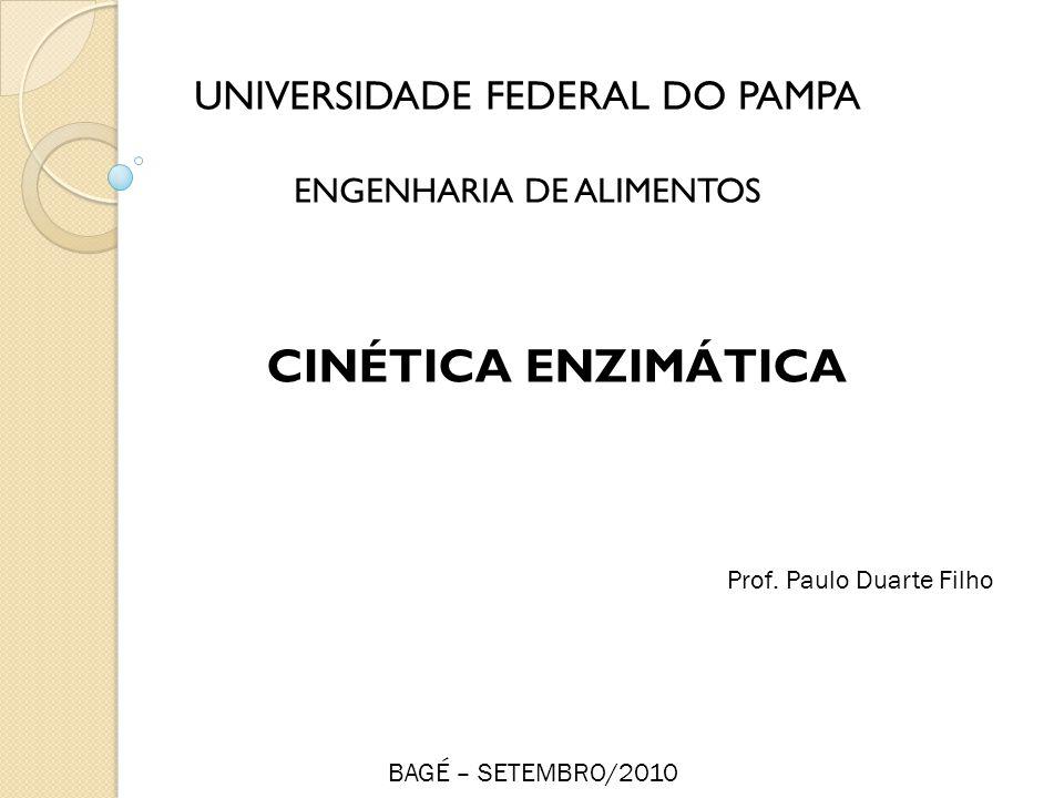 CINÉTICA ENZIMÁTICA UNIVERSIDADE FEDERAL DO PAMPA ENGENHARIA DE ALIMENTOS Prof. Paulo Duarte Filho BAGÉ – SETEMBRO/2010