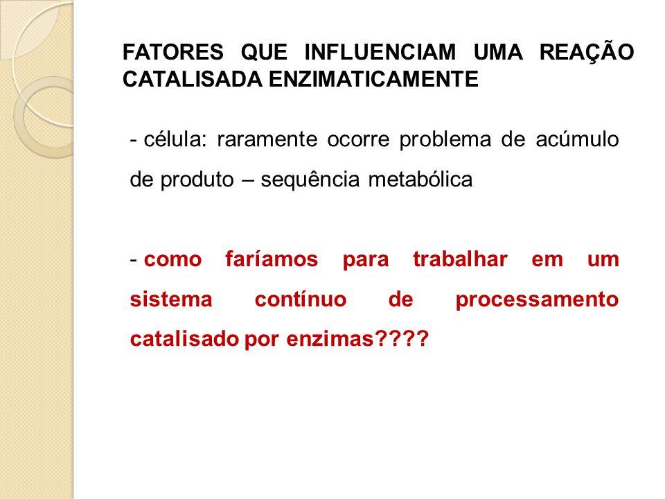 FATORES QUE INFLUENCIAM UMA REAÇÃO CATALISADA ENZIMATICAMENTE - célula: raramente ocorre problema de acúmulo de produto – sequência metabólica - como