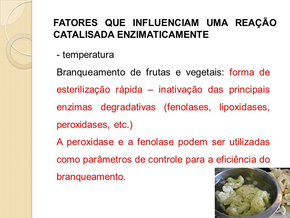FATORES QUE INFLUENCIAM UMA REAÇÃO CATALISADA ENZIMATICAMENTE - temperatura Branqueamento de frutas e vegetais: forma de esterilização rápida – inativ
