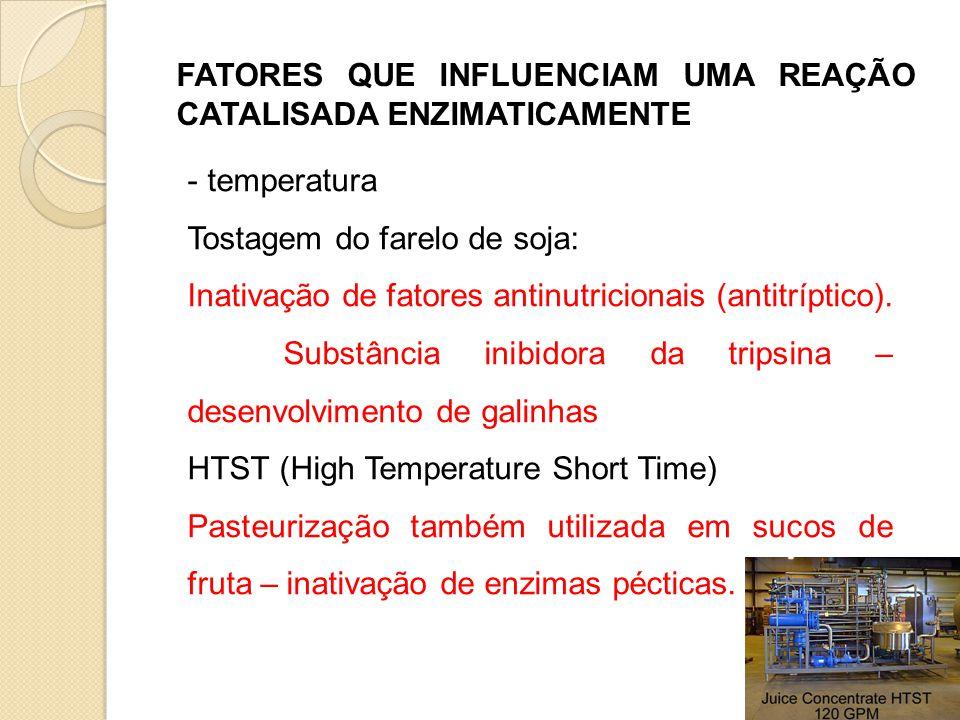 FATORES QUE INFLUENCIAM UMA REAÇÃO CATALISADA ENZIMATICAMENTE - temperatura Tostagem do farelo de soja: Inativação de fatores antinutricionais (antitr