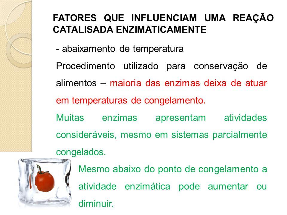 FATORES QUE INFLUENCIAM UMA REAÇÃO CATALISADA ENZIMATICAMENTE - abaixamento de temperatura Procedimento utilizado para conservação de alimentos – maio