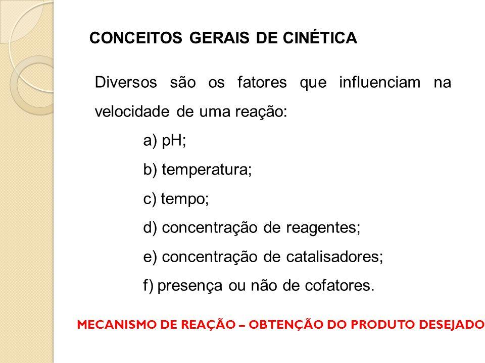 CONCEITOS GERAIS DE CINÉTICA Diversos são os fatores que influenciam na velocidade de uma reação: a) pH; b) temperatura; c) tempo; d) concentração de