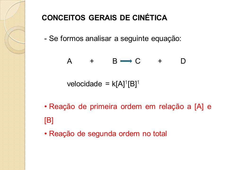 CONCEITOS GERAIS DE CINÉTICA - Se formos analisar a seguinte equação: A+BC+D velocidade = k[A] 1 [B] 1 • Reação de primeira ordem em relação a [A] e [