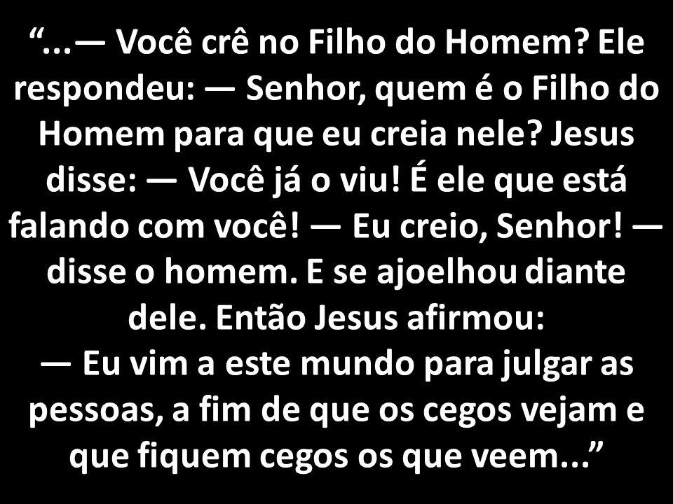 """""""...— Você crê no Filho do Homem? Ele respondeu: — Senhor, quem é o Filho do Homem para que eu creia nele? Jesus disse: — Você já o viu! É ele que est"""