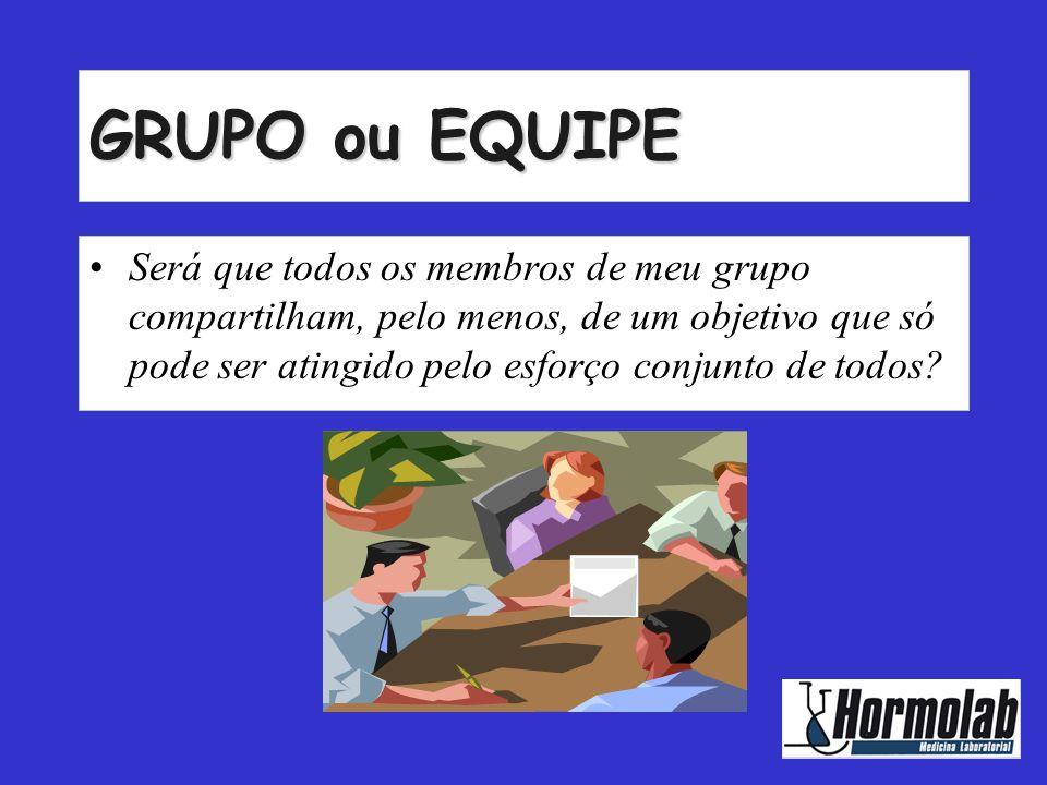 GRUPO ou EQUIPE •S•Será que todos os membros de meu grupo compartilham, pelo menos, de um objetivo que só pode ser atingido pelo esforço conjunto de t