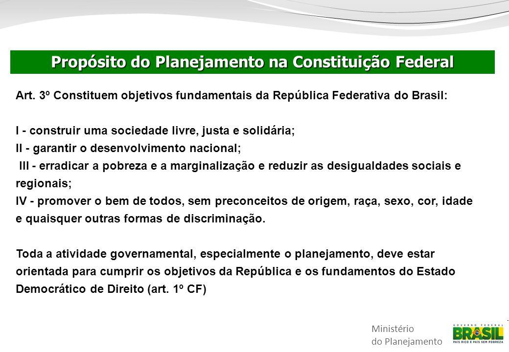 Ministério do Planejamento Art. 3º Constituem objetivos fundamentais da República Federativa do Brasil: I - construir uma sociedade livre, justa e sol