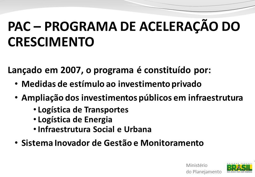 Ministério do Planejamento Lançado em 2007, o programa é constituído por: • Medidas de estímulo ao investimento privado • Ampliação dos investimentos públicos em infraestrutura • Logística de Transportes • Logística de Energia • Infraestrutura Social e Urbana • Sistema Inovador de Gestão e Monitoramento PAC – PROGRAMA DE ACELERAÇÃO DO CRESCIMENTO