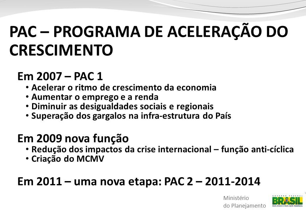 Ministério do Planejamento Em 2007 – PAC 1 • Acelerar o ritmo de crescimento da economia • Aumentar o emprego e a renda • Diminuir as desigualdades sociais e regionais • Superação dos gargalos na infra-estrutura do País Em 2009 nova função • Redução dos impactos da crise internacional – função anti-cíclica • Criação do MCMV Em 2011 – uma nova etapa: PAC 2 – 2011-2014 PAC – PROGRAMA DE ACELERAÇÃO DO CRESCIMENTO