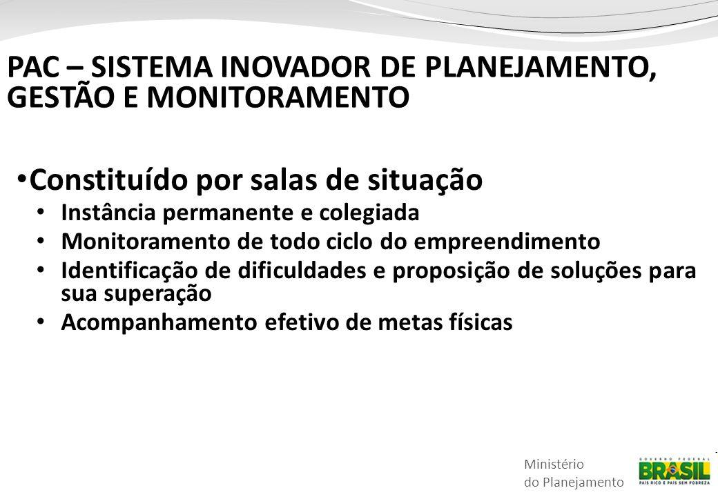 Ministério do Planejamento • Constituído por salas de situação • Instância permanente e colegiada • Monitoramento de todo ciclo do empreendimento • Id