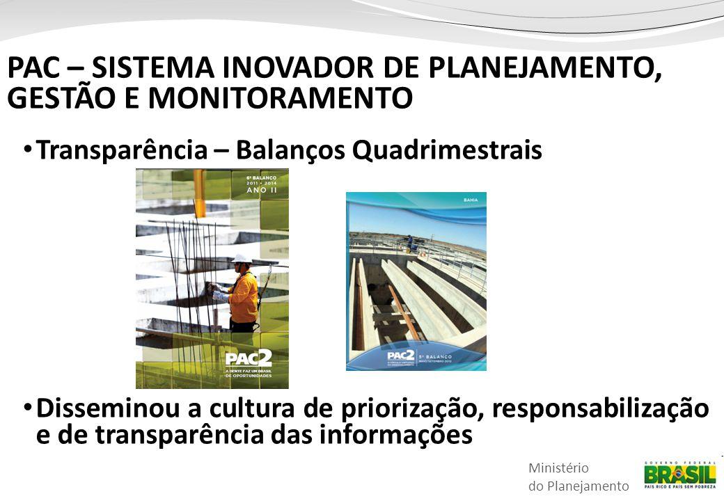Ministério do Planejamento • Transparência – Balanços Quadrimestrais • Disseminou a cultura de priorização, responsabilização e de transparência das i