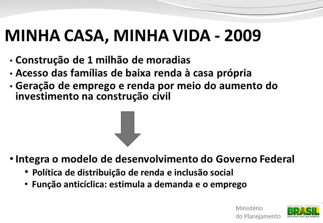 Ministério do Planejamento MINHA CASA, MINHA VIDA - 2009 • Construção de 1 milhão de moradias • Acesso das famílias de baixa renda à casa própria • Ge