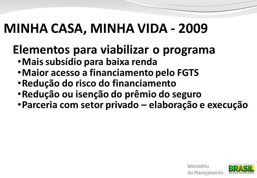 Ministério do Planejamento Elementos para viabilizar o programa • Mais subsídio para baixa renda • Maior acesso a financiamento pelo FGTS • Redução do risco do financiamento • Redução ou isenção do prêmio do seguro • Parceria com setor privado – elaboração e execução MINHA CASA, MINHA VIDA - 2009