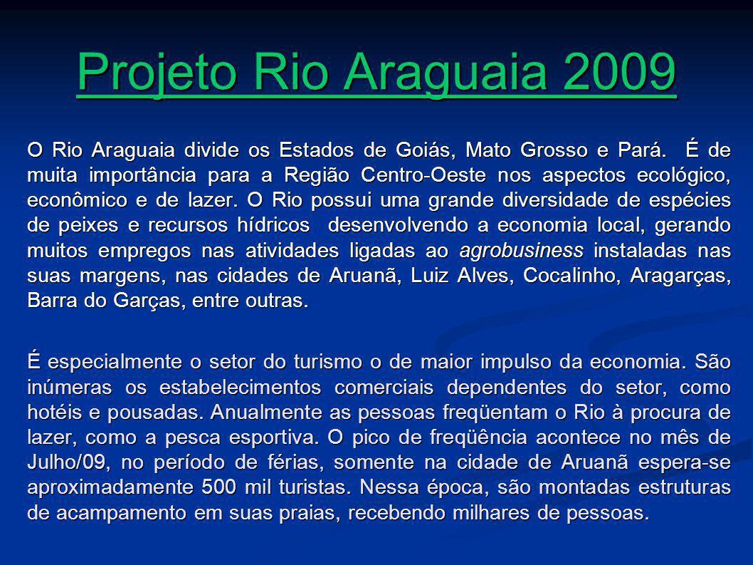 Projeto Rio Araguaia 2009 O Rio Araguaia divide os Estados de Goiás, Mato Grosso e Pará.