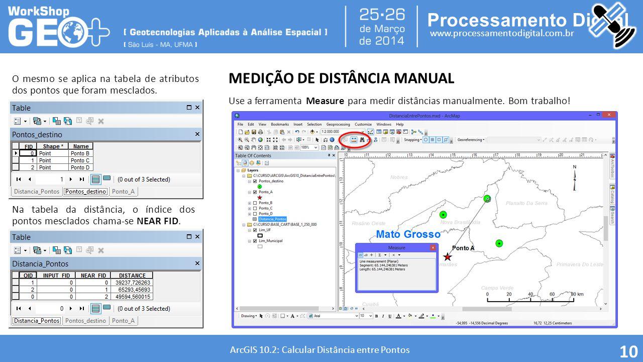 Processamento Digital www.processamentodigital.com.br ArcGIS 10.2: Calcular Distância entre Pontos 10 O mesmo se aplica na tabela de atributos dos pon