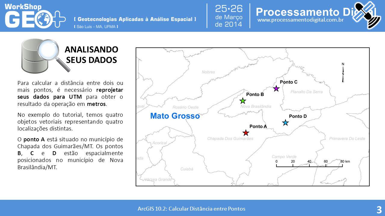 Processamento Digital www.processamentodigital.com.br ArcGIS 10.2: Calcular Distância entre Pontos A projeção UTM que estamos utilizando para a região do Mato Grosso é SIRGAS 2000 UTM Zone 21 S.