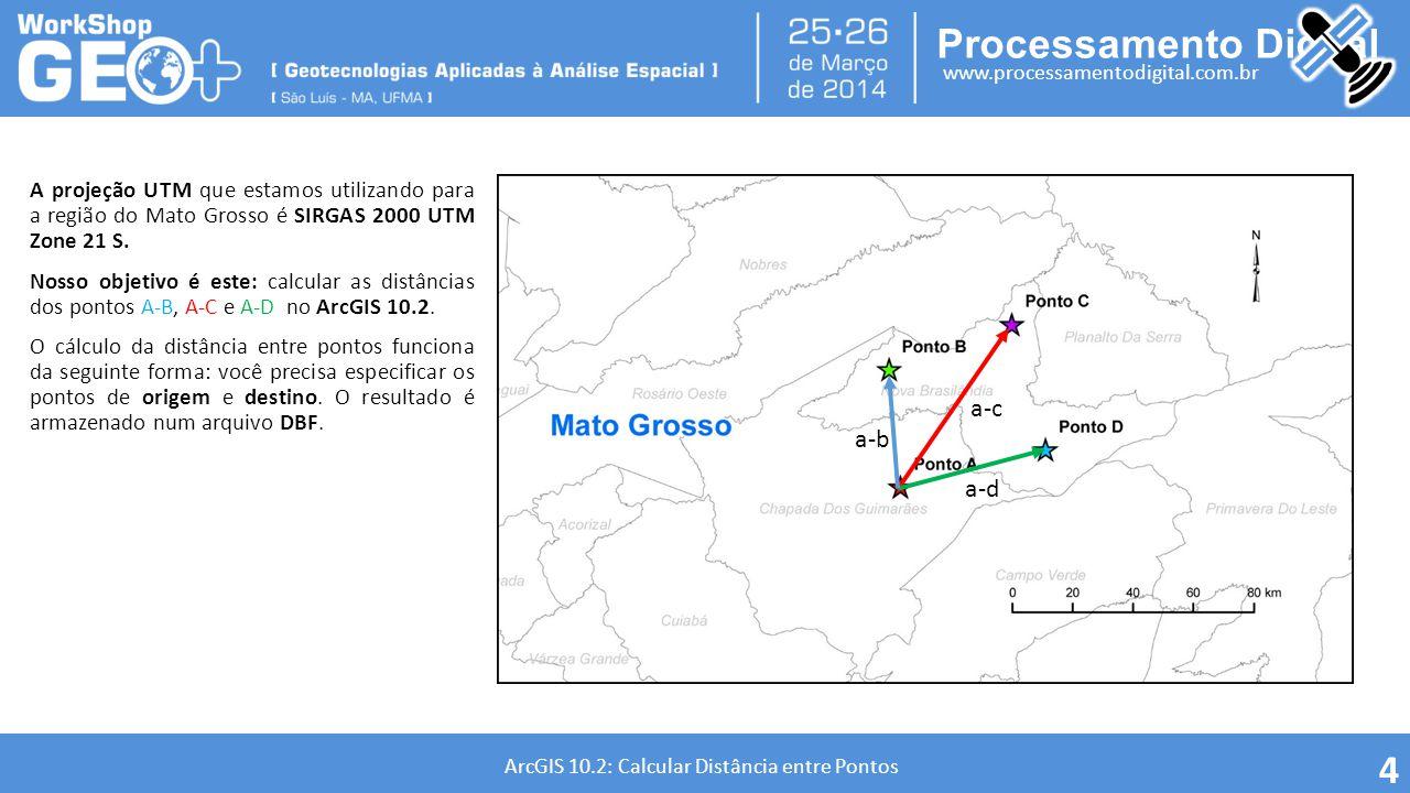 Processamento Digital www.processamentodigital.com.br ArcGIS 10.2: Calcular Distância entre Pontos A projeção UTM que estamos utilizando para a região