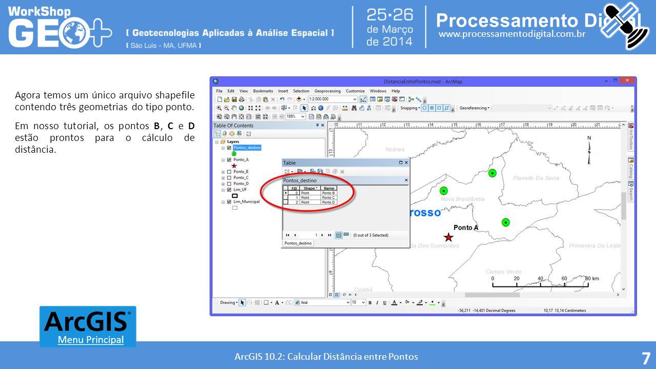 Processamento Digital www.processamentodigital.com.br ArcGIS 10.2: Calcular Distância entre Pontos 8 O GEOPROCESSO POINT DISTANCE Geoprocesso que determina a distância do ponto de entrada para todos os pontos nnas feições próximas dentro de um raio de pesquisa especificado.