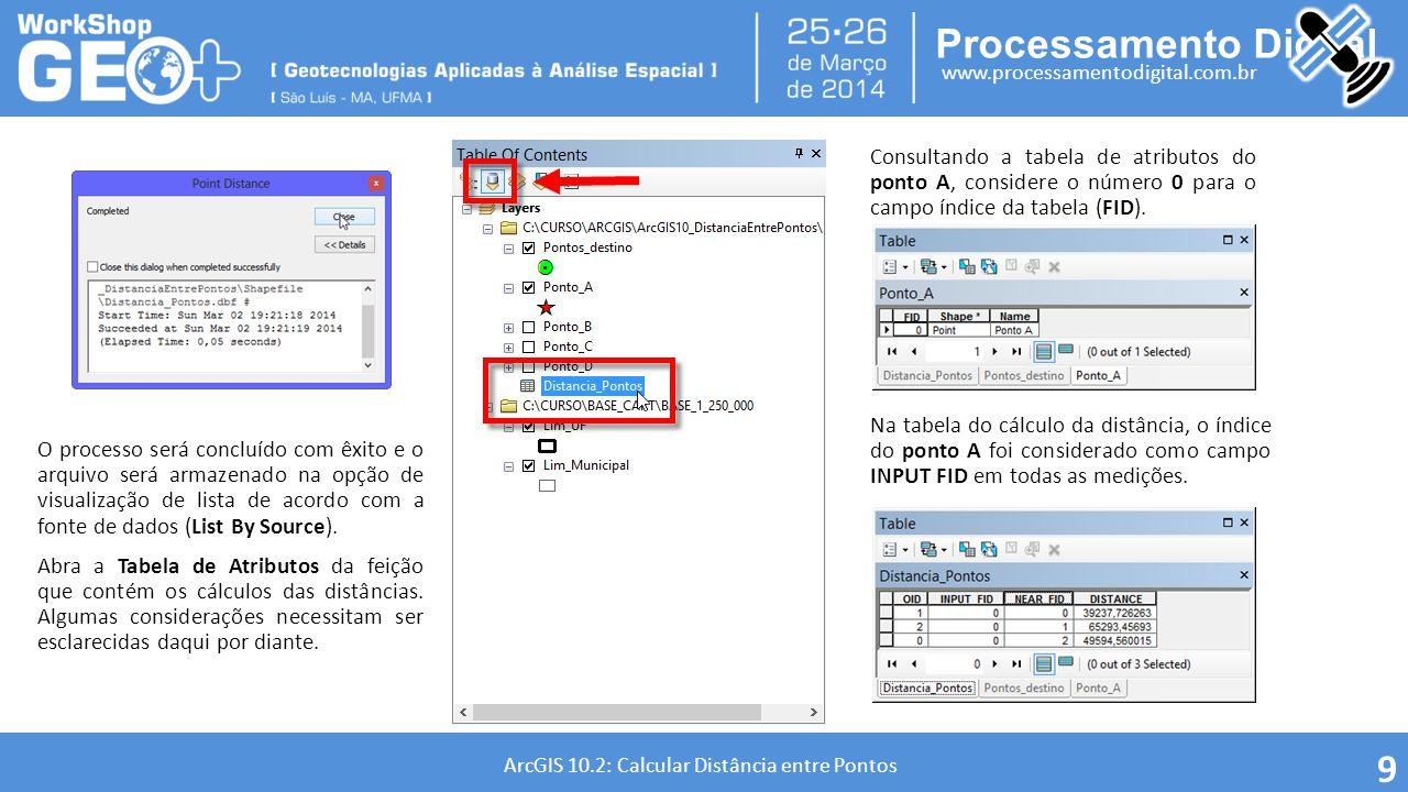 Processamento Digital www.processamentodigital.com.br ArcGIS 10.2: Calcular Distância entre Pontos 9 O processo será concluído com êxito e o arquivo s