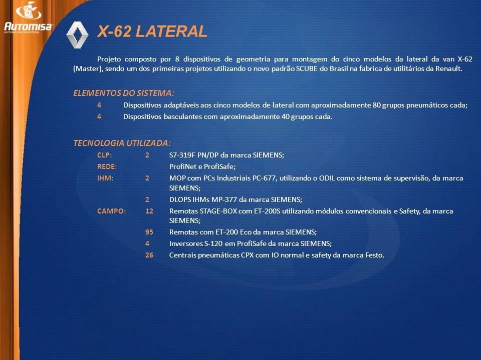X-62 LATERAL Projeto composto por 8 dispositivos de geometria para montagem do cinco modelos da lateral da van X-62 (Master), sendo um dos primeiras projetos utilizando o novo padrão SCUBE do Brasil na fabrica de utilitários da Renault.