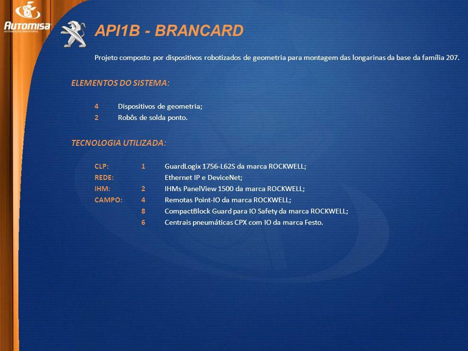 API1B - BRANCARD Projeto composto por dispositivos robotizados de geometria para montagem das longarinas da base da família 207.