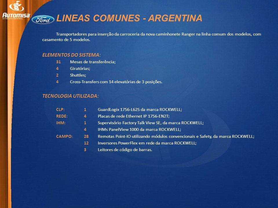 LINEAS COMUNES - ARGENTINA Transportadores para inserção da carroceria da nova caminhonete Ranger na linha comum dos modelos, com casamento de 5 modelos.